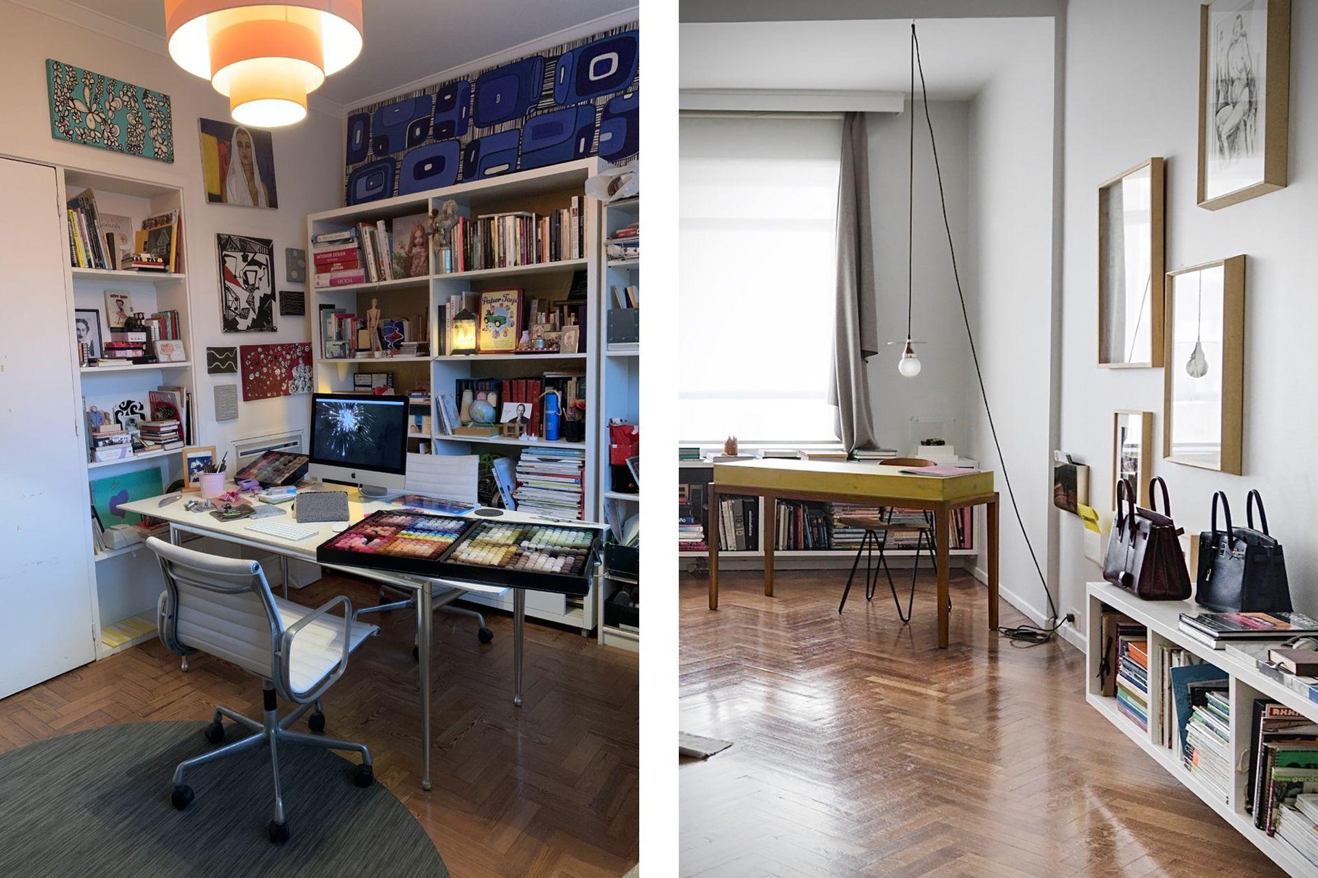 Izq.: La oficina de la diseñadora Vanina Mizrahi, un recorrido por su historia profesional; Der.: El espacio despojado de la arquitecta Karina Kreth.
