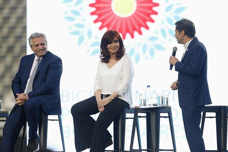 Alberto Fernández, Cristina Kirchner y Axel Kicillof en el Estadio Único de La Plata