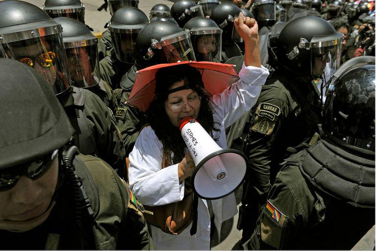 Una protesta sindical en La Paz