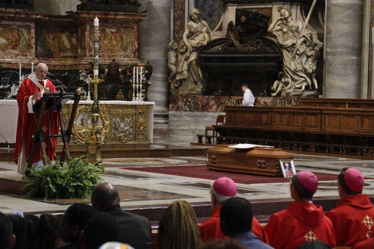 Pope Francis celebrates the funeral service of Cardinal Leon Kalenga Badikebele, the Apostolic nuncio in Argentina, at St. Peters Basilica at the Vatican, Saturday, June 15, 2019. (AP Photo/Gregorio Borgia)