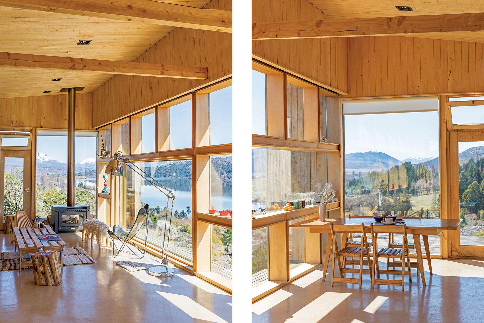 La lámpara de pie (GA Iluminación Casa) es otro elemento del mundo de la arquitectura, ya que se asemeja a las de los tableros de dibujo, pero en gran escala. Banco de madera con corderito (Elementos Argentinos).