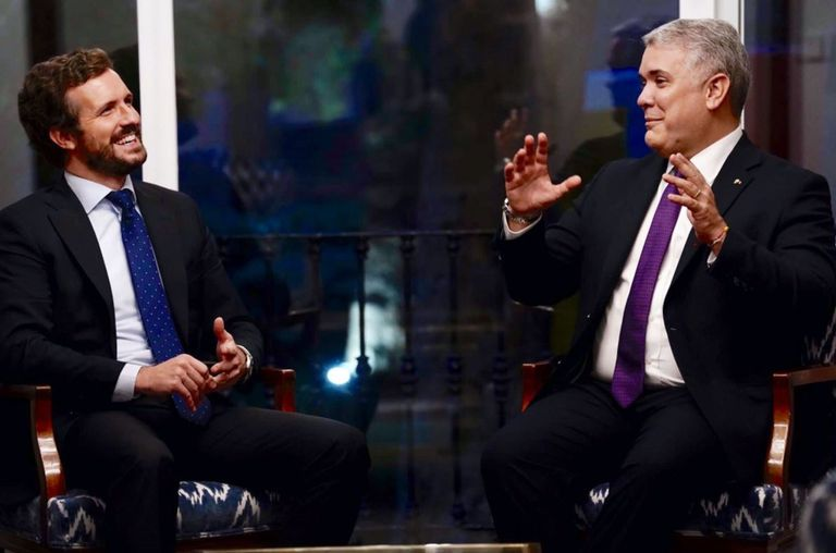 Casado se reúne con Iván Duque para apoyar  su defensa de la libertad frente a las dictaduras  en Latinoamérica