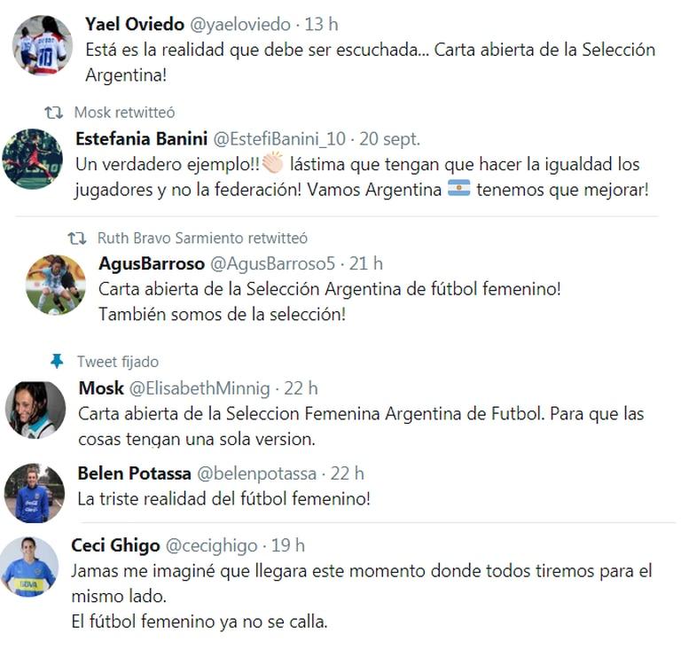 Los twit de las jugadoras de selección que apoyan la medida