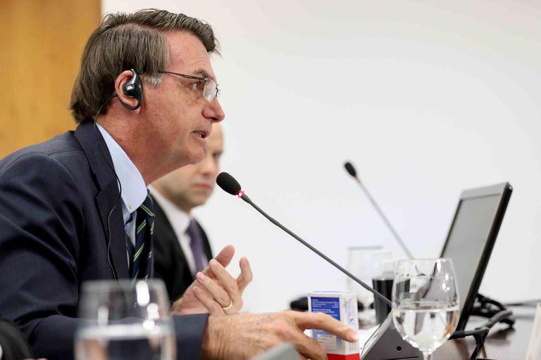 Jair Bolsonaro en la videoconferencia de la Cumbre Virtual Extraordinaria de Líderes del G20 sobre COVID-19