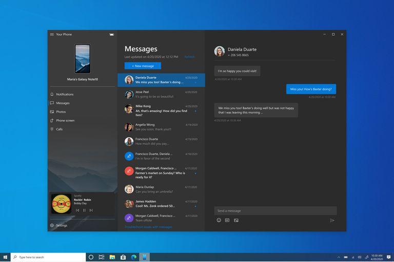 Windows 10 permitirá acceder a diferentes funciones del teléfono Android, como los mensajes de texto, llamadas y también a las aplicaciones instaladas en el smartphone mediante la aplicación Your Phone de Microsoft