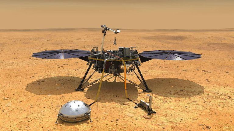 22-07-2021 Ilustración del módulo InSight con el sismómetro y el taladro en primer plano POLITICA INVESTIGACIÓN Y TECNOLOGÍA NASA/JPL