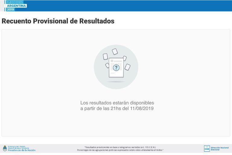 La pantalla del recuento provisional de resultados