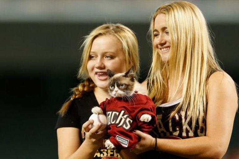 Se cree que Grumpy Cat, que aparece aquí con su dueña Tabatha Bundesen (derecha) ha ganado millones de dólares en acuerdos de publicidad.