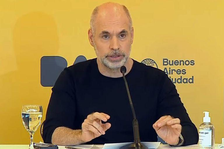 Horacio Rodríguez Larreta en la conferencia de prensa de esta tarde.