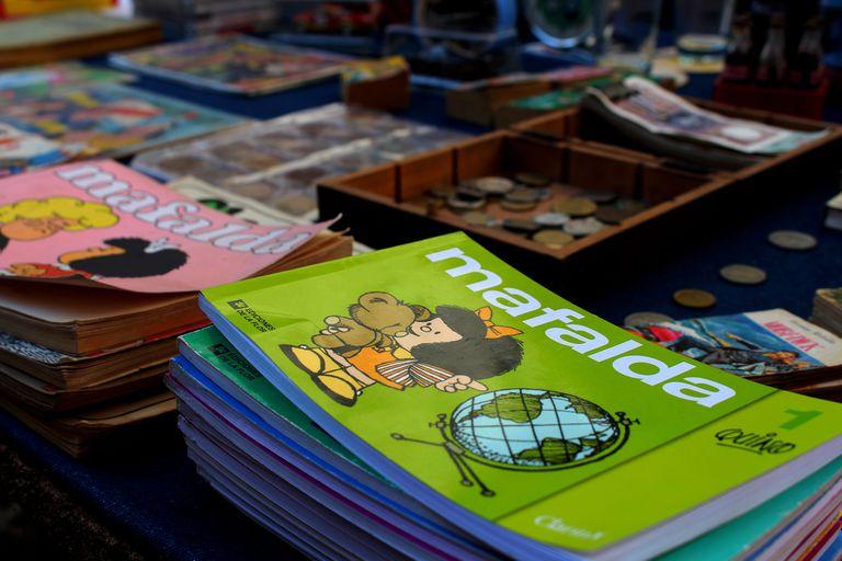 Los libros de Mafalda en su clásico diseño apaisado