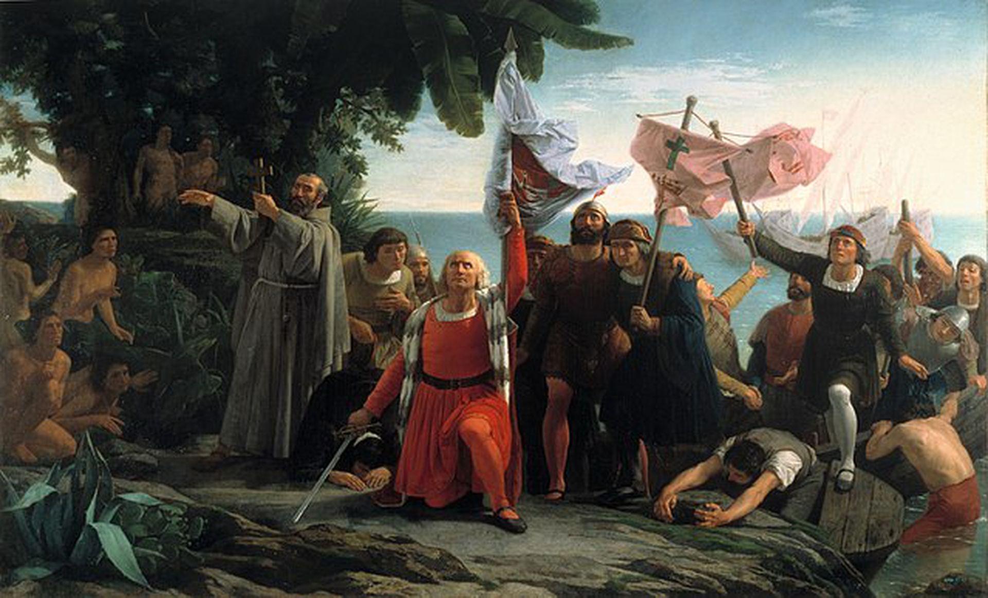 La representación simbólica del desembarco muestra a un Colón que no luce el atuendo de gala. Archivo La Nación.