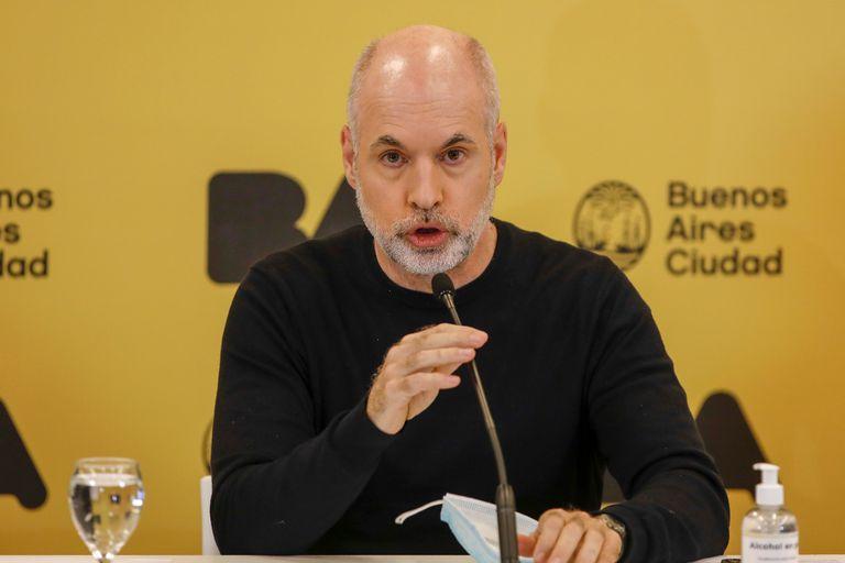 Horacio Rodríguez Larreta en la conferencia de prensa por la nueva etapa de la cuarentena