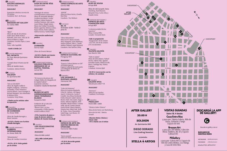 El mapa con todas las galerías del circuito Recoleta Retiro