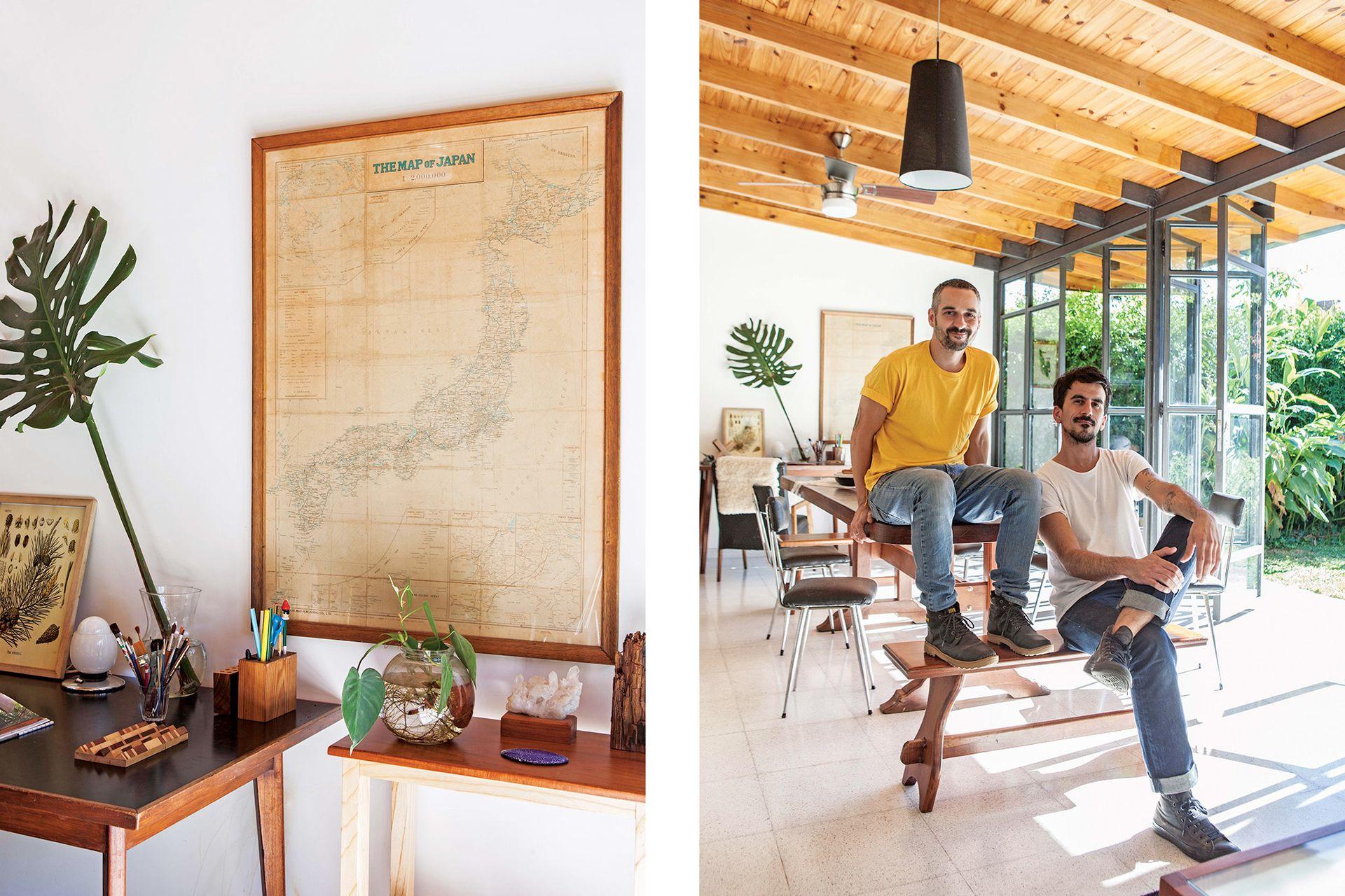 Aquí, los artífices de la reforma: el arquitecto Julián Puyal (izq.), de Estudio Prim, y el dueño de casa, Germán Van Peteghem, al frente de Becca Estudio, donde diseña y fabrica muebles.