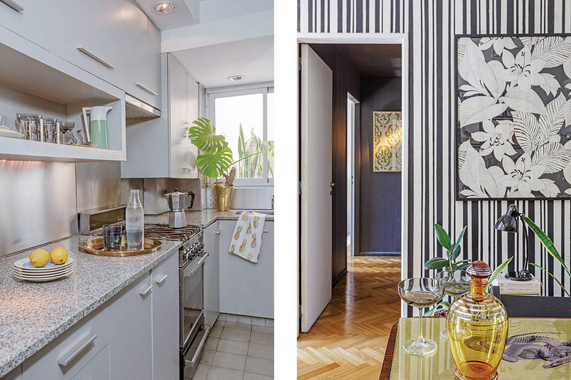 La cocina fue remodelada y ampliada cuando la familia compró la propiedad, en 1997: funcional, sigue vigente para el uso cotidiano.