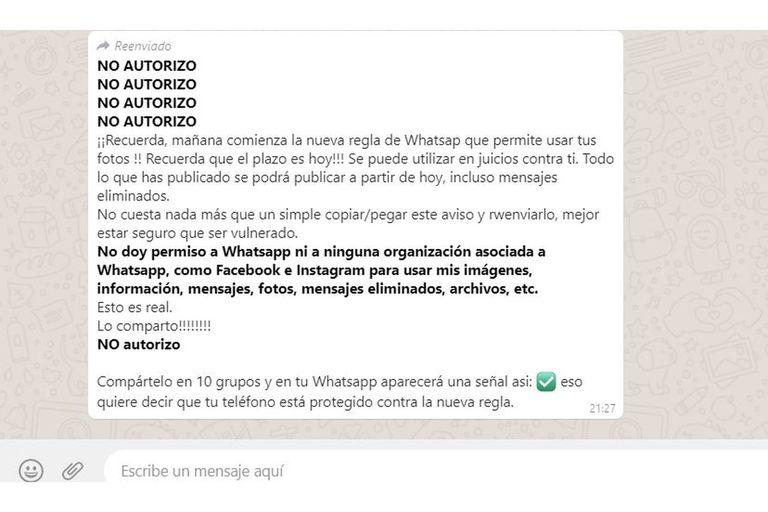 """Una de las cadenas engañosas que circularon por WhatsApp desde el anuncio del cambio en los términos y condiciones del mensajero, en enero. No hay manera de """"protegerse contra la nueva regla""""; ni siquiera es una regla"""