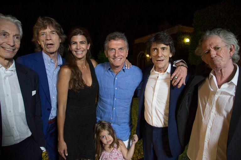 Mauricio Macri y a su mujer, Juliana Awada, junto a los Rolling Stones, en 2016