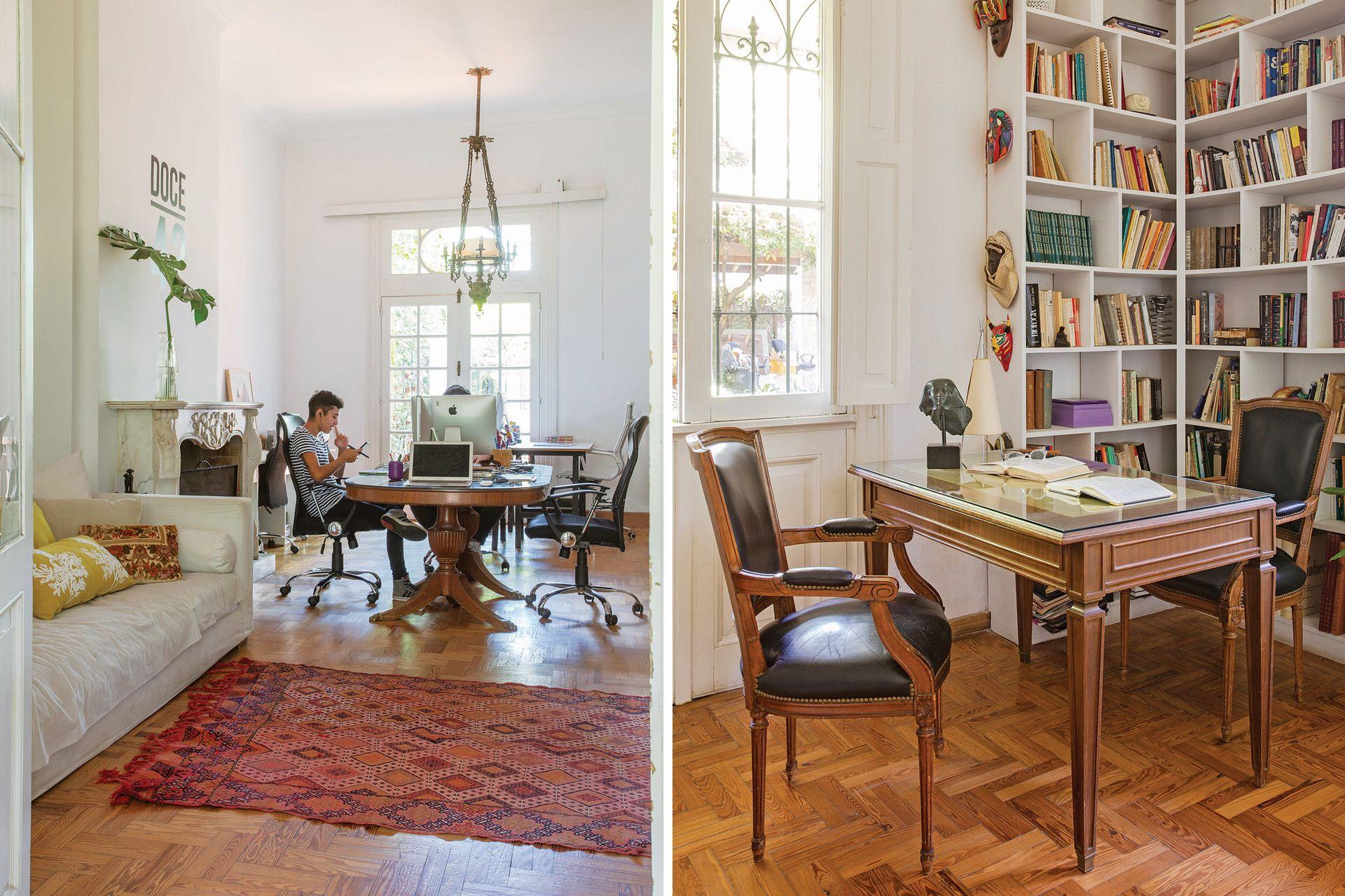 En el sector de relax, sillón (Laura O) al que le van cambiando la funda y renovando los almohadones (en esta ocasión, de En Abundancia Deco). Sobre el piso de madera original, alfombra (Olivia D). En el consultorio, biblioteca de madera pintada de blanco hecha a medida y silla de estilo francés.
