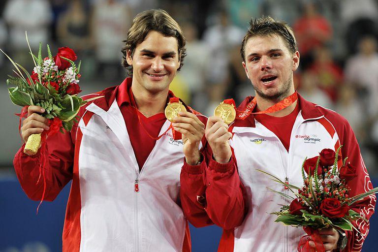 Federer y Wawrinka, ganadores de la medalla de oro en dobles durante los JJOO de Pekín 2008.