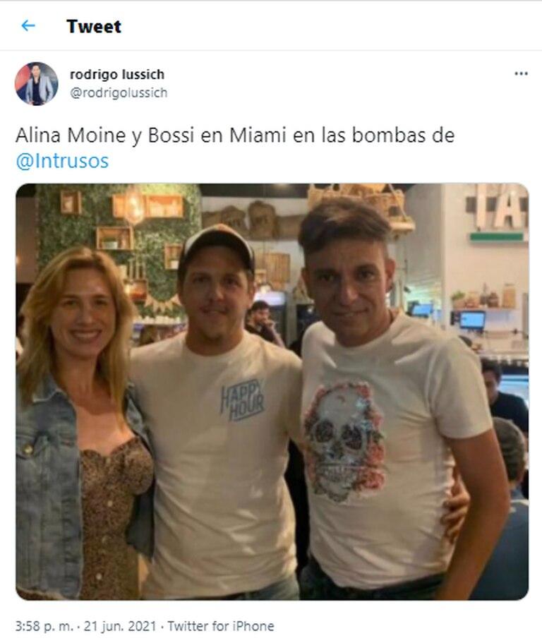 Rodrigo Lussich publicó una foto que muestra a Alina Moine y Martín Bossi juntos en Miami