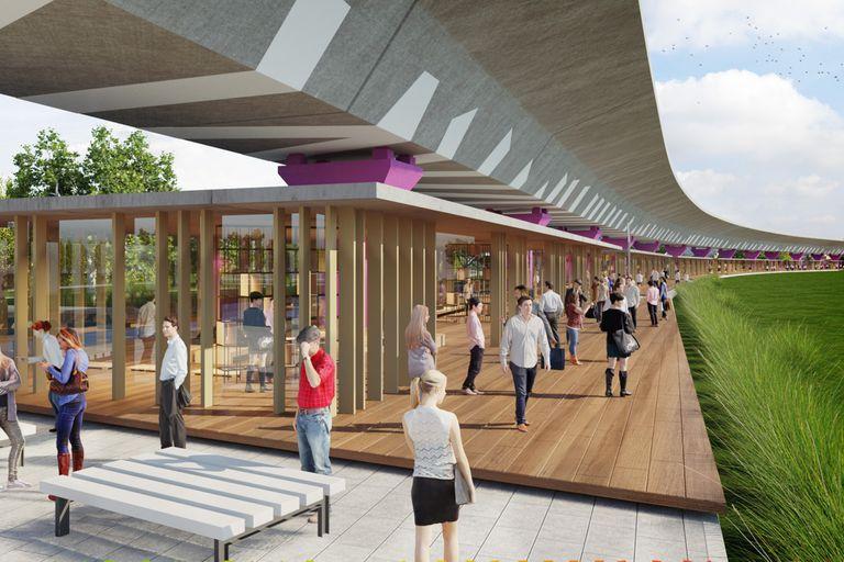 Una imagen simula lo que se espera para los bajo viaducto del tren Mitre