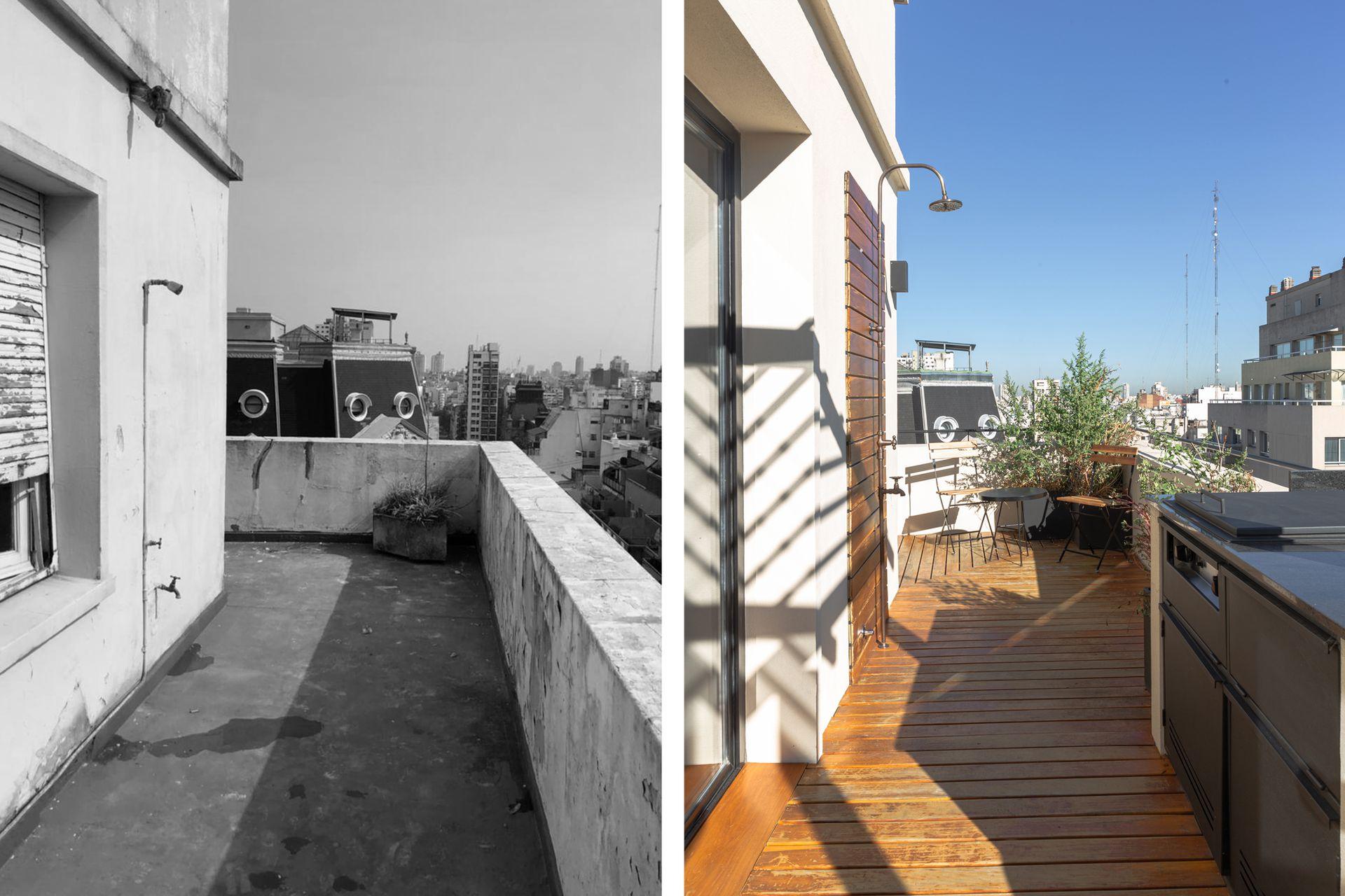 Un elocuente antes y después que empieza por haber eliminado un cerramiento opresivo en el extremo de la terraza.
