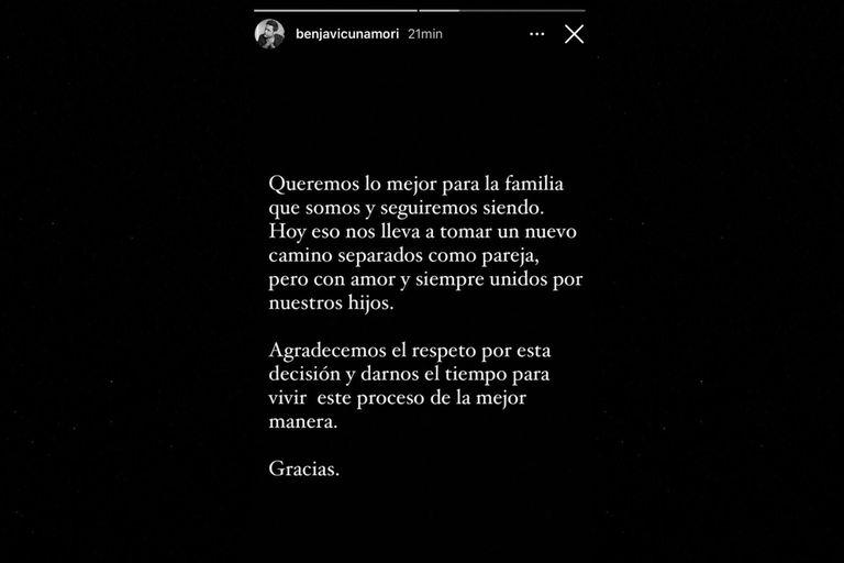 El mensaje con el que Benjamín Vicuña anunció la separación en sus redes sociales