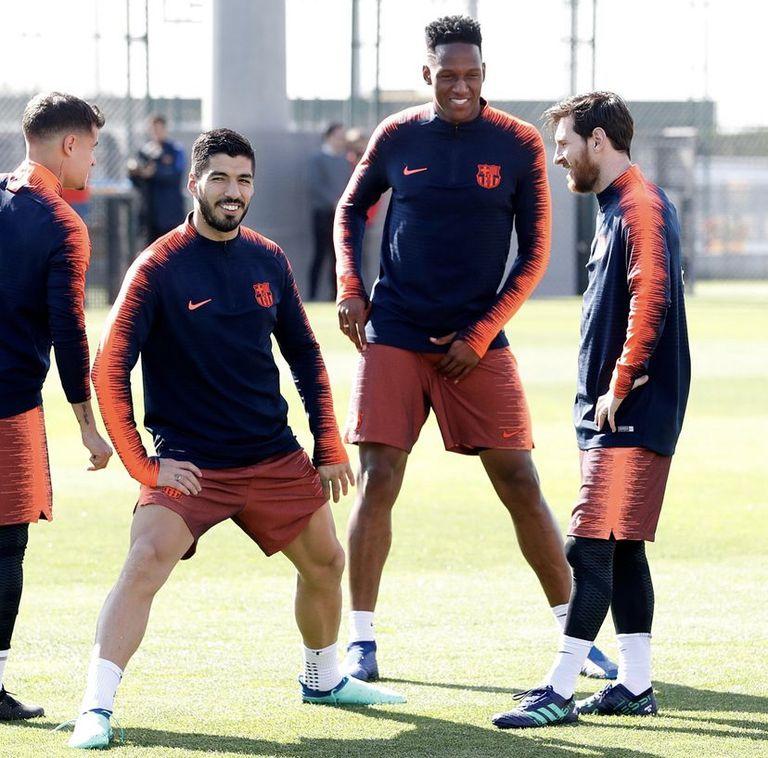 Coutinho, Suárez, Mina y Messi juntos en el Barcelona