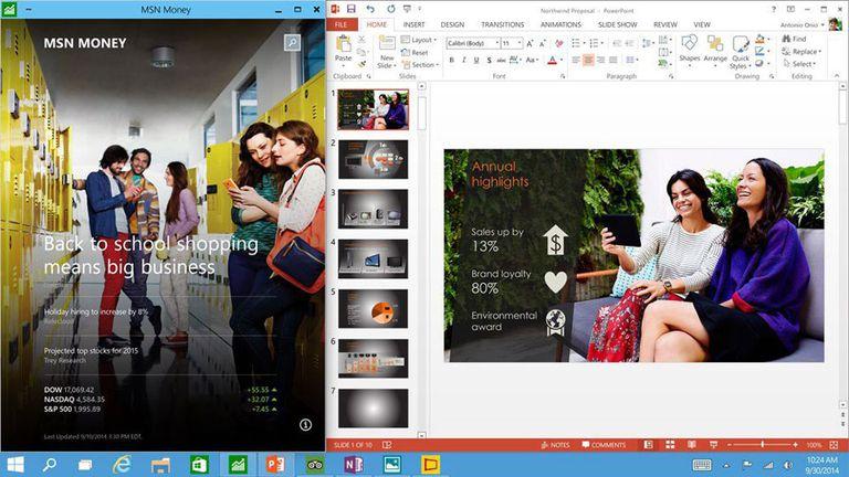 Sea una aplicación tradicional u otra moderna, ambas pueden compartir la pantalla en la renovada vista tradicional de Windows 10