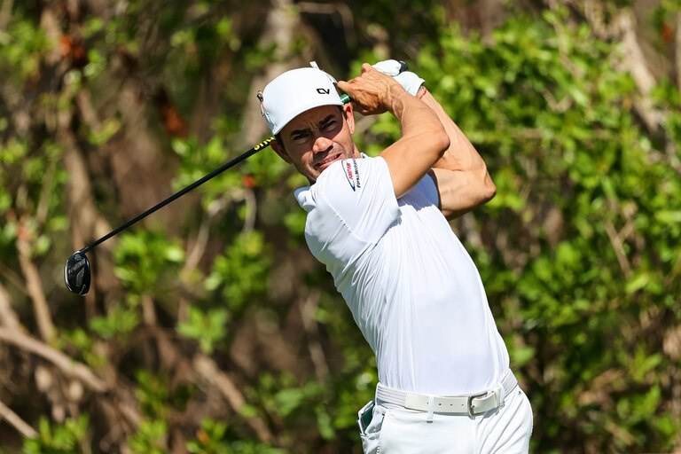 PLAYA DEL CARMEN, MEXICO - DECEMBER 05: Camilo Villegas of Colombia plays his shot from the third tee during the third round of the Mayakoba Golf Classic at El Camaleón Golf Club on December 05, 2020