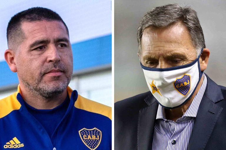 Juan Román Riquelme, presidente del Consejo de Fútbol, y Miguel Angel Russo, entrenador de Boca