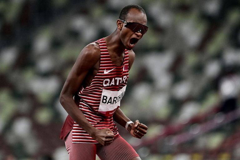 La reacción de Mutaz Essa Barshim, de Qatar, que eligió compartir el oro con su rival