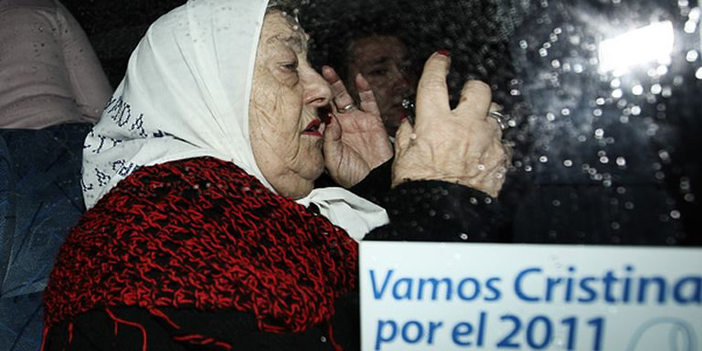 Hebe de Bonafini, ayer, durente un acto en Plaza de Mayo