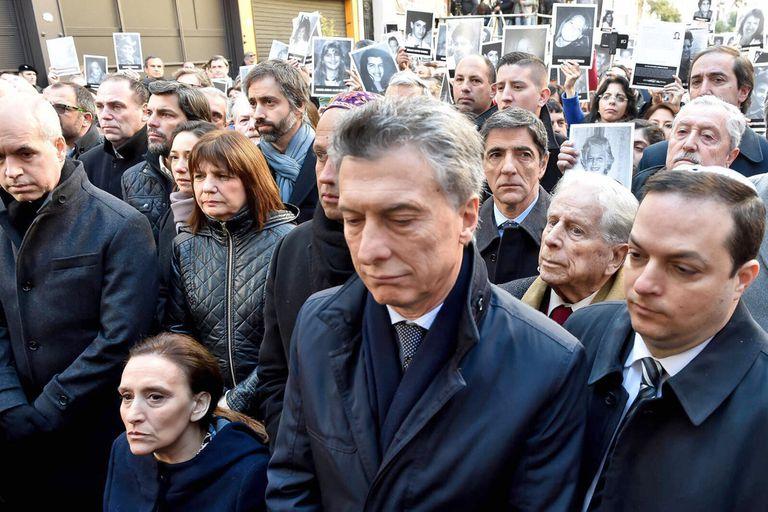 Macri, en julio de 2016, en el acto por las víctimas de la AMIA