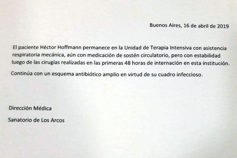 Este es el parte médico de la salud de Sergio Denis, del martes 16 de abril
