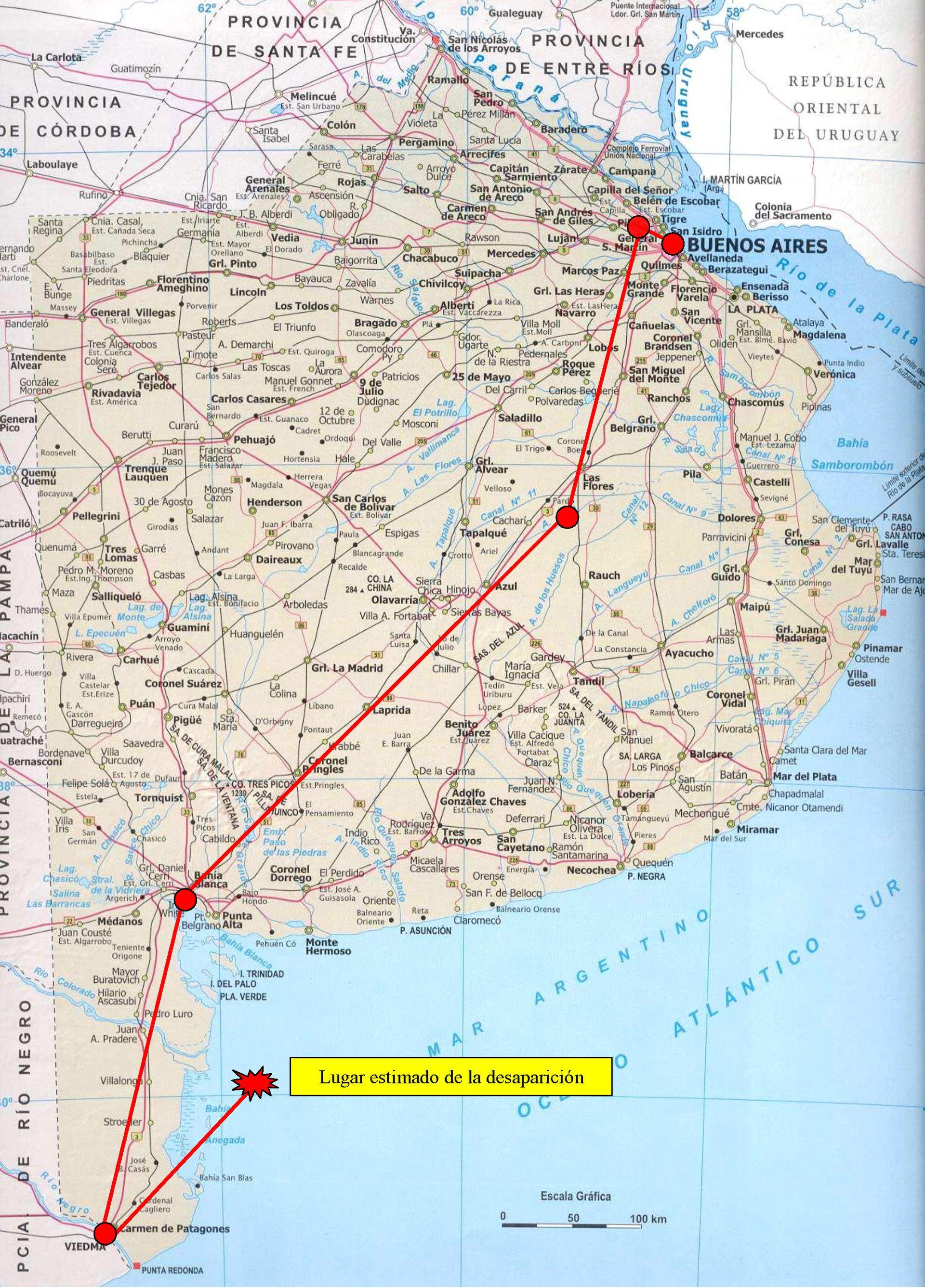 Mapa de la ruta del último viaje del Pampero, y el lugar donde presumiblemente cayó.