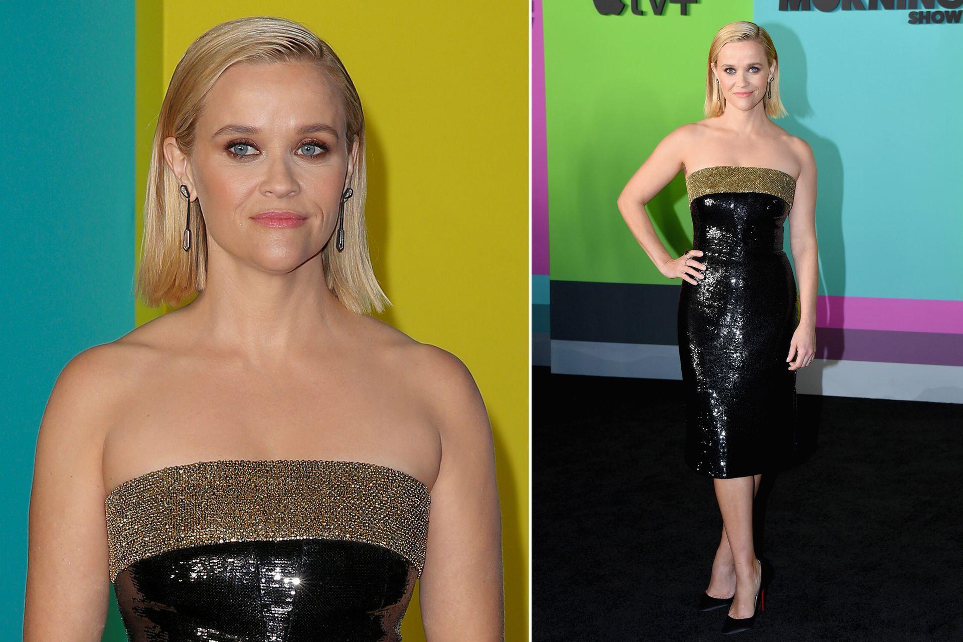 Su coprotagonista, Reese Witherspoon, fue por un diseño strapless y a la rodilla de Hedi Slimane for Celine; las actrices no ocultaron la buena relación que tienen durante la presentación de la ficción en el Lincoln Center de Manhattan