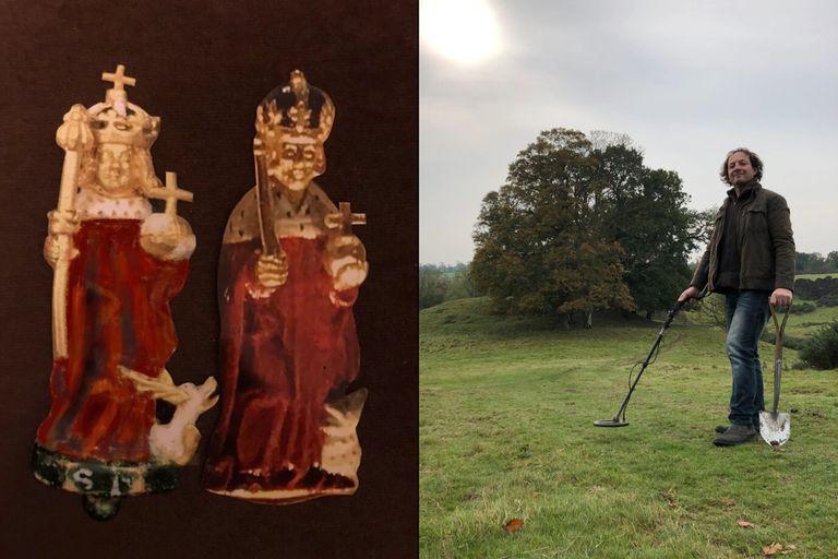 Izquierda: el hallazgo del aficionado en comparación con su réplica de la corona del Museo Británico. Derecha: Duckett posa con su detector de metales