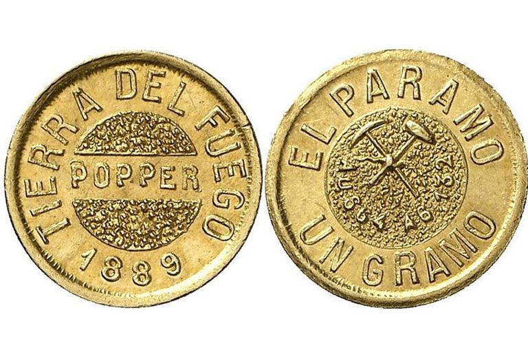 Las monedas de oro acuñadas por Julio Popper. Luego de su muerte, comenzaron a salir a la luz las atrocidades que cometió en la isla de Tierra del Fuego