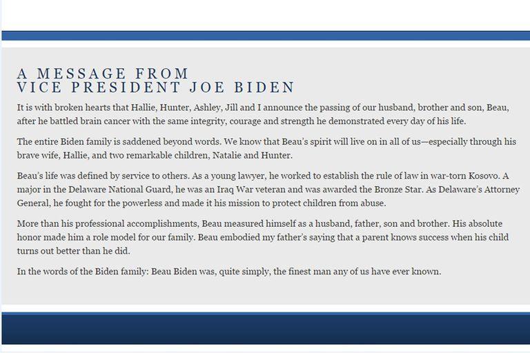 El vicepresidente Joe Biden, dejó un mensaje en la web oficial de su hijo Beau
