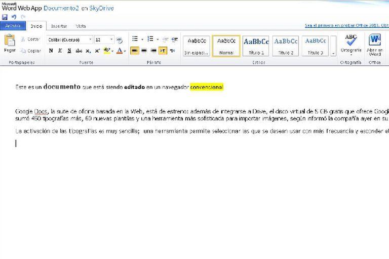 Así es la interfaz Web del Microsoft Office; el archivo se edita en el mismo navegador
