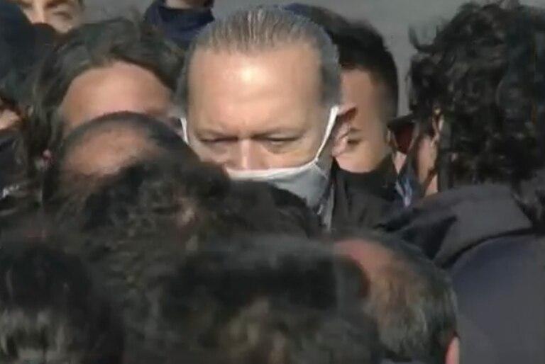 Sergio Berni se acercó al lugar de la protesta en La Matanza