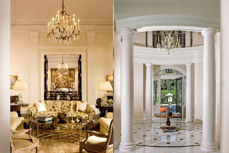 La mansión de Disney: en el interior, los revestimientos en mármol y los lujosos candelabros son un factor común