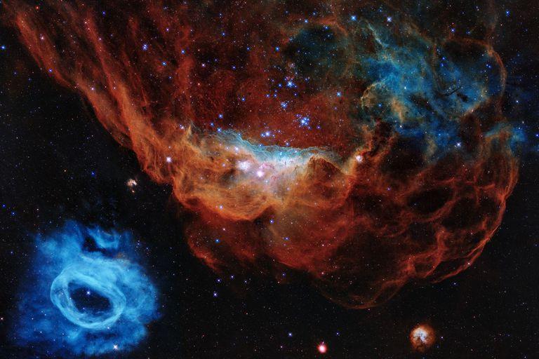 El llamado Arrecife Cósmico muetra a nebulosa gigante NGC 2014 (en rojo) y su vecina NGC 2020; juntas forman parte de una gran estrella de formación en la Gran Nube de Magallanes