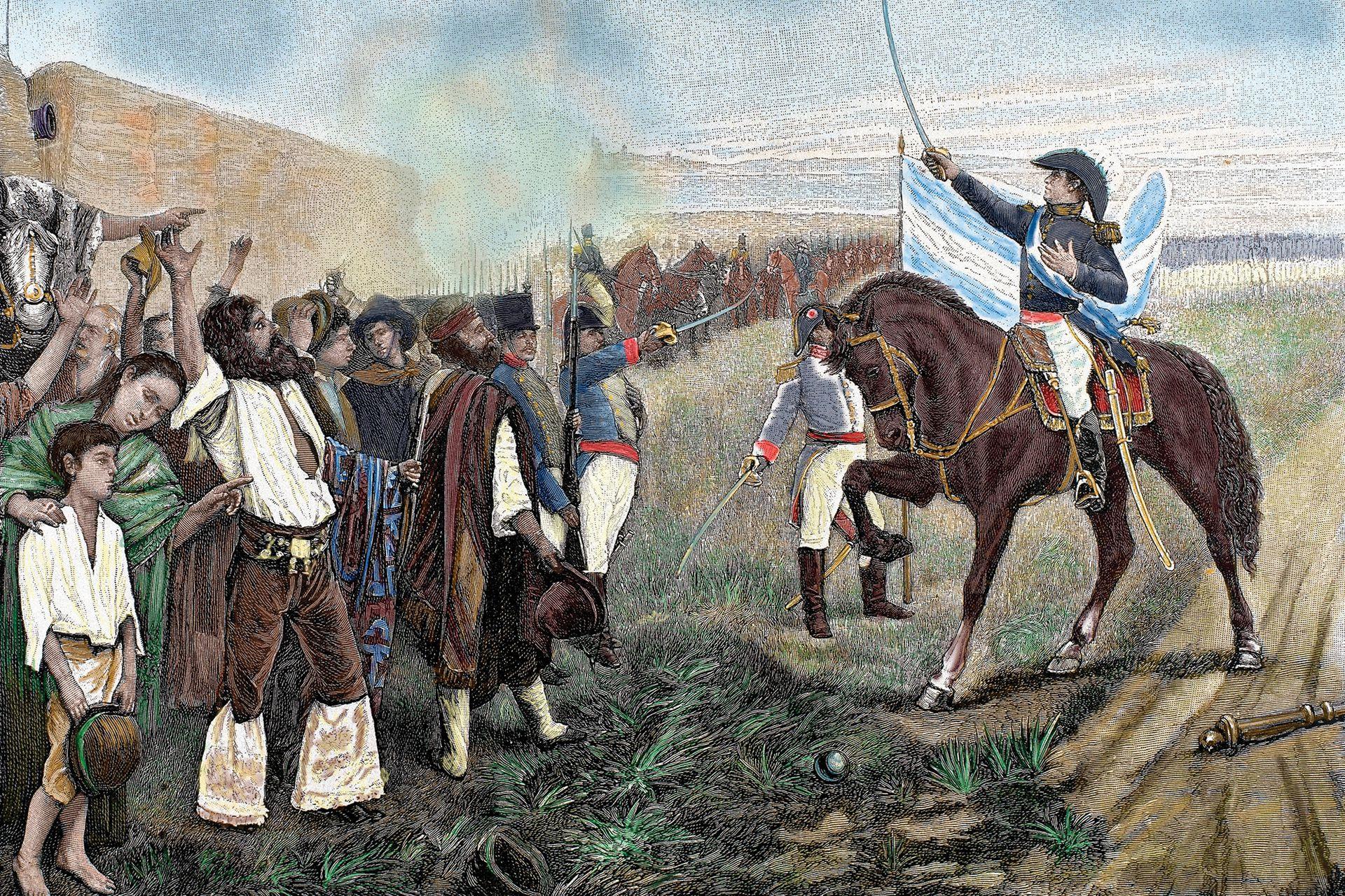 Grabado coloreado del siglo XIX: Belgrano presenta la Bandera de la Argentina a la armada revolucionaria, el 27 de febrero de 1812