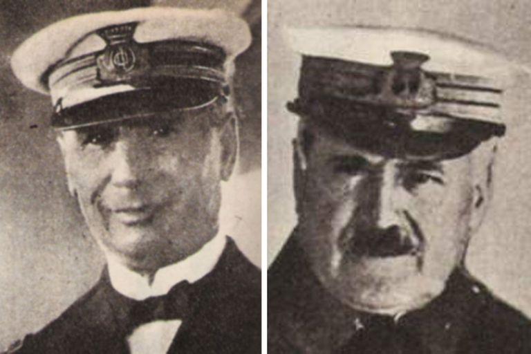 Izquierda: comandante Simone Gulì. Derecha: contador Carlo Longobardi. El primero se hundió con el barco, el segundo se salvó
