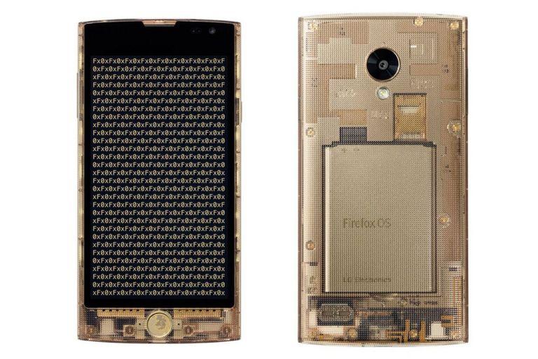 Un LG Fx0, con una carcasa que deja ver algunos de los componentes internos