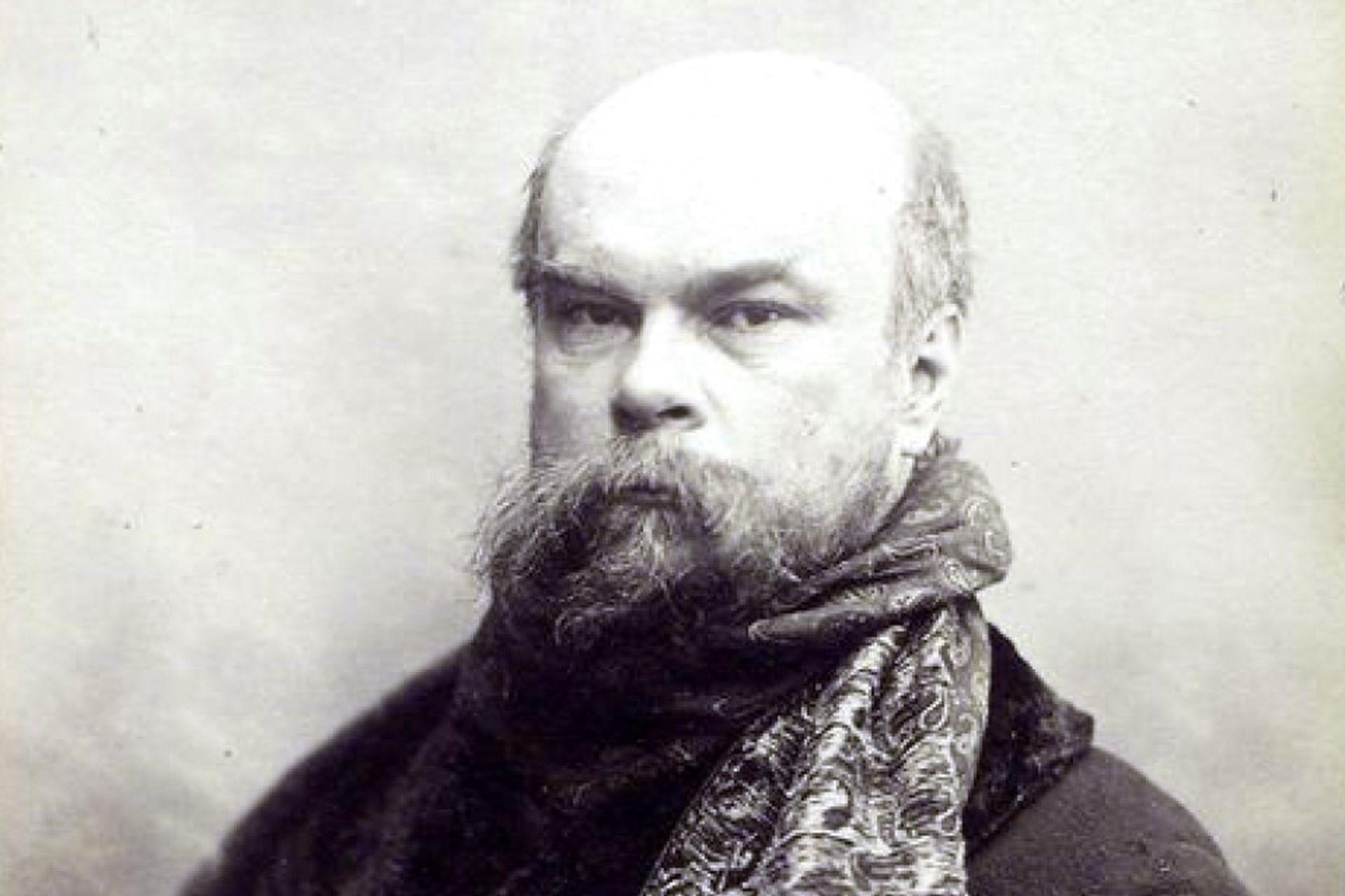 Paul Verlaine, era mayor que Rimbaud y mantuvo una tormentosa relación con él, aquí a los 49 años, retrato de Otto Wegener