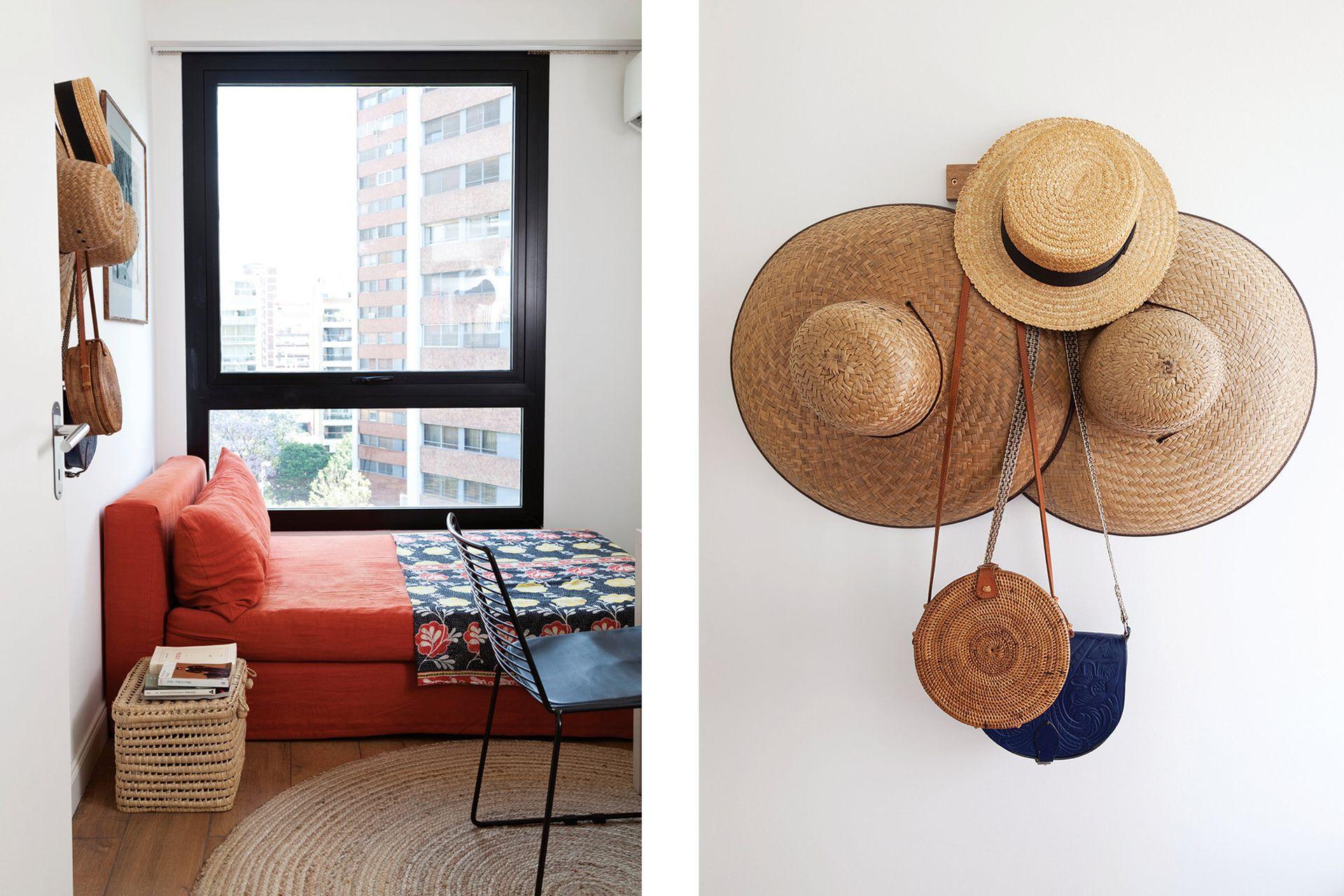 Sillón (Laura O) con funda de lino, alfombra redonda (La Redoute), silla 'Metal G ' (Quiu) y, sobre la mesa, lámpara 'Tertial' (Ikea).