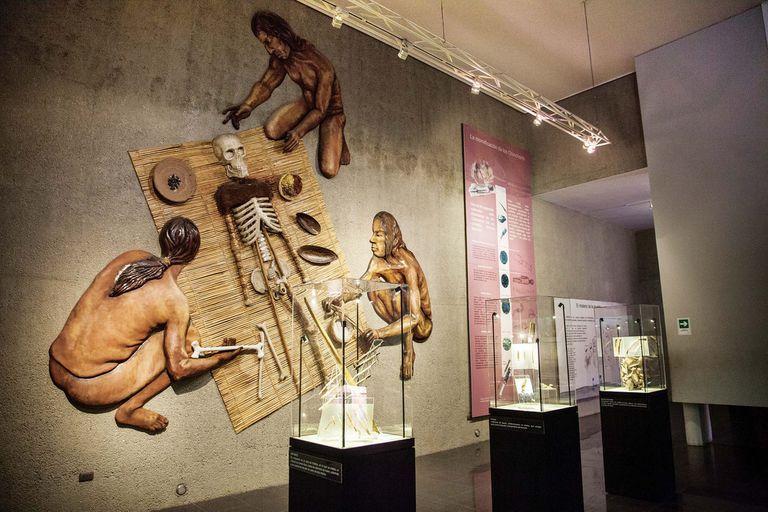Representación del rito de momificación artificial que practicaban los Chinchorro en el Museo San Miguel de Azapa.